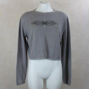 Vtg Harley-Davidson Gray Cropped Crew Neck Sweater